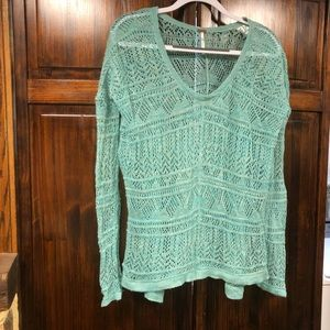 Free People six XS green blue lightweight sweater
